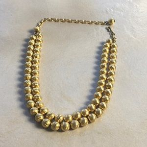 Vintage 50s 60s Gold Tone Choker Necklace 2 Strand